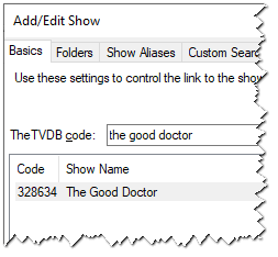 Add/Edit Show - Search Results